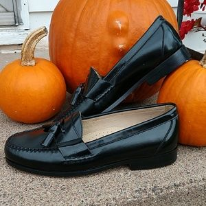 Bass Harrison Black Tassel Loafers sz 8.5 EE